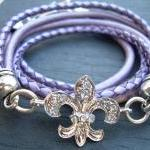 Leather Bracelet, Antique Silver/ Double Strand Metallic Purple/ Lavander, Crystal Fleur -de- lis, Womens Jewelry, Womens Bracelet