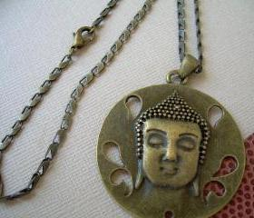Buddah Pendant and Necklace Chain Antique Bronze Toned, Buddha Necklace - Urban Survival Gear USA ABNASST