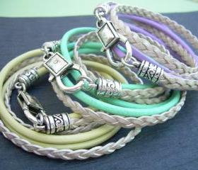 Womens Leather Bracelet, Triple Wrap, Double Strand