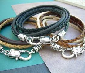 Leather Bracelet, Triple Wrap, Double Strand, Unisex, Mens, Womens