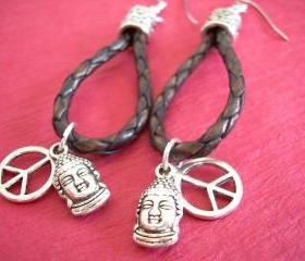 Earrings, Braided Leather Earrings, Antique Brown Braided, Buddha, Peace Sign