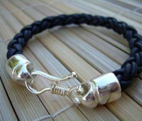 Mens Leather Bracelet , Sterling Silver Plate Clip Closure Clasp, Natural Black Braided