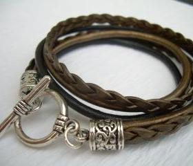 Womens Leather Bracelet , Metallic Gold Bronze and Black, Triple Strand, Double Wrap, Toggle Closure, Mothers Day Gift