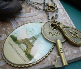 Womens Necklace, Chain, Antique Bronze Toned With Paris Pendants