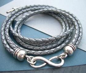 Leather Bracelet, Infinity Bracelet, Metallic Gray - Silver, Braided, Toggle Closure, Triple Wrap, Mothers Day Gift