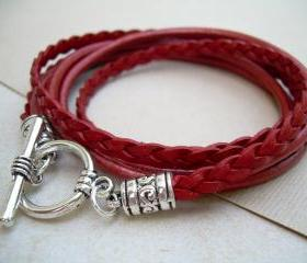 Triple Wrap Leather Bracelet with Toggle Clasp - Metallic Red - Mothers Day Gift, Womens Bracelet, Womens Jewelry