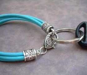 Womens Turquoise Leather Bracelet - Valet Keychain - Four Strand - Womens Jewelry - Womens Bracelet - Leather Bracelet