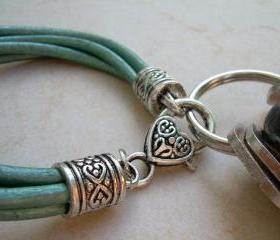 Womens Metallic Teal Leather Bracelet - Valet Keychain - Womens Bracelet, Womens Gift, Womens Jewelry