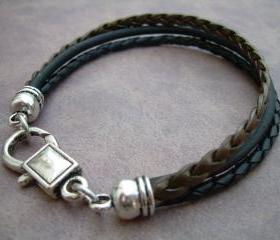 Leather Bracelet, Unisex, Mens, Womens, Black - Metallic Bronze and Antique Silver, Mens Bracelet, Womens Bracelet, Mens Jewelry