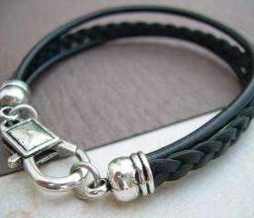 Leather Bracelet, Unisex, Mens, Womens, Black and Antique Silver, Mens Jewelry, Mens Bracelet, Womens Bracelet, Womens Jewelry