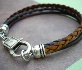 Leather Bracelet, Unisex, Mens, Womens, Antique Brown and Antique Silver, Mens Bracelet, Womens Bracelet, Mens Jewelry