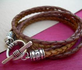 Mens, Womens, Unisex, Triple Wrap Leather Bracelet with Toggle Clasp, Mens Bracelet, Womens Bracelet, Leather Bracelet