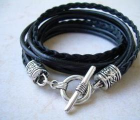 Womens Leather Bracelet, Five Strand, Double Wrap, Black, Womens Jewelry, Womens Bracelet, Womens Gift