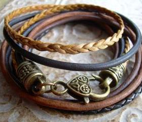 Womens Leather Bracelet, Five Strand, Double Wrap, Natural, Antique Brown, Antique Bronze