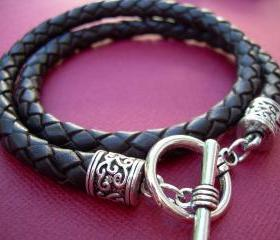 Black Braided Leather Bracelet Unisex Mens Womens Toggle Closure Urban Survival Gear USA