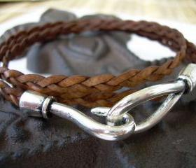 Womens, Mens, Unisex Leather Bracelet, Triple Wrap, Natural Brown, Flat Braided, Hook Closure Clasp TSB20 Urban Survival Gear USA