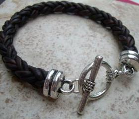 Mens Leather Bracelet, Natural Antique Brown, With Toggle Clasp