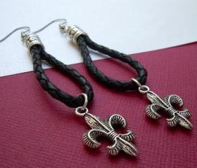Leather Earrings, Fleur De Lis Earrings, Black Braided - Urban Survival Gear USA