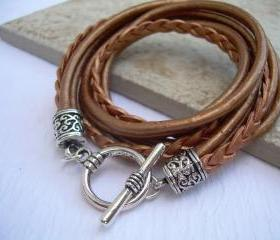 Womens Leather Bracelet , Metallic Bronze, Triple Wrap, Triple Strands