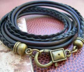 Leather Bracelet, Mens, Womens, Unisex, Triple Wrap,Triple Strand, Antique Bronze/ Antique Brown/Black