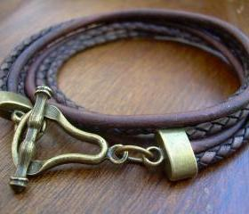 Leather Bracelet, Mens, Womens, Unisex, Double Wrap,Triple Strand, Antique Bronze/ Antique Brown