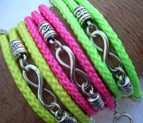 Womens Infinity Bracelet, Neon Colors,Triple Wrap, Braided, Vegan, Poly Cord