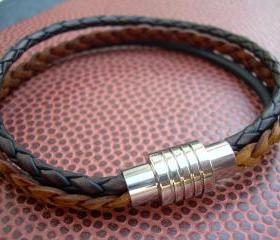 Leather Bracelet, Mens Leather Bracelet, Bracelet, Triple Strand, Stainless Steel Magnetic Clasp
