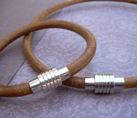 Leather Bracelet and Leather Necklace, Two piece Set, Stainless Steel Magnetic Clasps, Mens, Natural