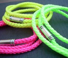 Womens Leather Bracelet, Alternative, Triple Wrap, Braided, Neon Colors, Vegan