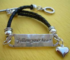 Leather Bracelet, Antique Silver/ Double Strand, Black Braid, Heart Charm, Follow your heart