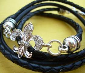 Leather Bracelet, Antique Silver/ Double Strand Black, Crystal Fleur -de- lis, Triple Wrap
