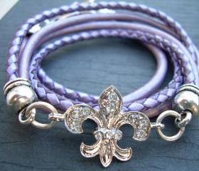 Triple Wrap Leather Bracelet, Antique Silver/ Double Strand Metallic Purple/ Lavander, Crystal Fleur -de- lis