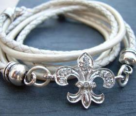 Leather Bracelet, Antique Silver/ Double Strand Metallic Pearl, Crystal Fleur -de- lis, Triple Wrap