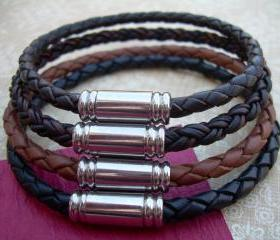 Leather Bracelet, Mens Leather Bracelet, Bracelet, Stainless Steel Magnetic Clasp, Groomsmen Gift, Mens Bracelet, Mens Jewelry, Mens Gift