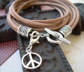 Womens Leather Bracelet Four Strand Double Wrap Natural With Loster Clasp Charm