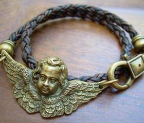 Womens Leather Bracelet, Angel, Wings, Antique Bronze/ Antique Brown Braided, Double Wrap, Steampunk, Gothic