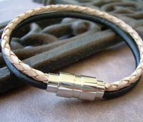 Mens Leather Bracelet with Stainless Steel Magnetic Clasp Black and Natural Braided - MB12 Urban Survival Gear USA