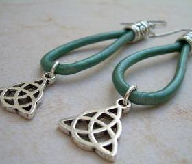 Leather Earrings, Metallic Teal, Celtic Triad Sign - Urban Survival Gear USA