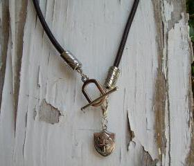 Toggle Closure Brown Leather Necklace Mens / Unisex - With Free Lobster Clasp Pendant