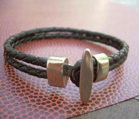 Mens Brown Braided Leather Bracelet with Stainless Steel Toggle Clasp