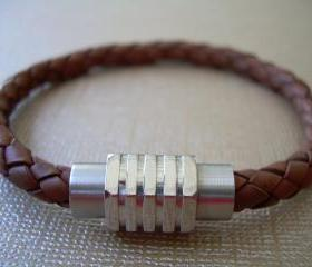 Mens Leather Bracelet with Stainless Steel Magnetic Clasp Braided Saddle Color - MB06 Urban Survival Gear USA