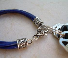 Womens Royal Blue Leather Bracelet - Valet Keychain - Four Strand / Urban Survival Gear USA