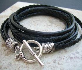 Leather Bracelet, Womens, Black, Triple Wrap, Triple Strands