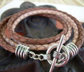 Leather Bracelet, Two Strand, Double Wrap, Natural Braid/Saddle Braid, Mens, Unisex Urban Survival Gear USA TSB04DW