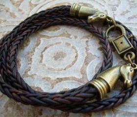 Mens, Womens, Unisex, Leather Bracelet, Horse Bracelet, Equine, Equestrian, Triple Wrap, Antique Brown Braided
