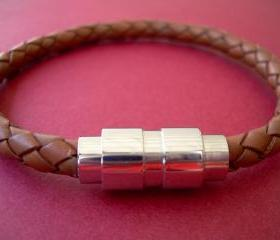 Leather Bracelet with Stainless Steel Magnetic Clasp Braided Saddle Color - MB07 Urban Survival Gear USA