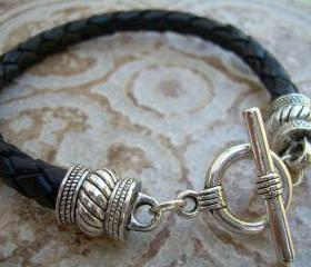 Leather Bracelet, Black Braided, Mens, Womens, Unisex