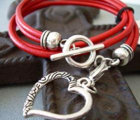 Womens Leather Bracelet, Double Strand, Double Wrap, Red, With Lobster Clasp Charm