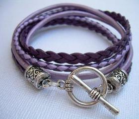 Womens Leather Bracelet , Toggle Closure, Metallic Purple, Lavender, Pink,Violet, Mothers Day Gift