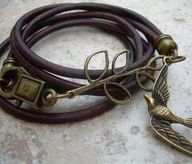 Womens Antique Brown Leather Bracelet, Antique Bronze,Triple Wrap with Branch and Swallow, Steampunk